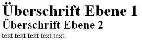 Hintereinander folgende Überschriften mit CSS formatiert