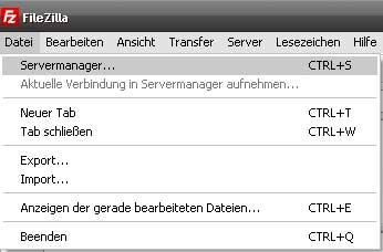 Filezilla Aufruf Servermanager